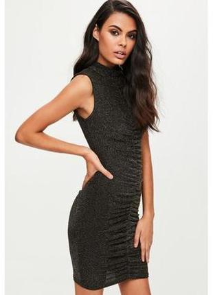 Вечернее облегающее люрексовое платье с высокой горловиной missguided