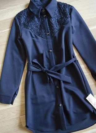 Дуже стильне та оригінальне плаття сукня сарафан з поясом\темно синій сарафан в школу