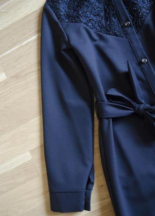 Дуже стильне та оригінальне плаття сукня сарафан з поясом\темно синій сарафан в школу2