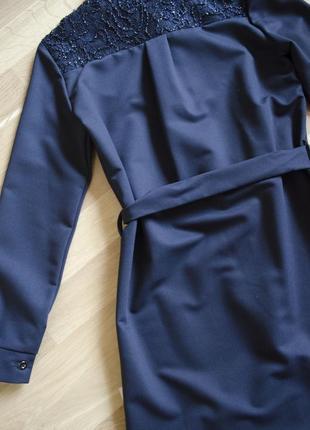 Дуже стильне та оригінальне плаття сукня сарафан з поясом\темно синій сарафан в школу3 фото