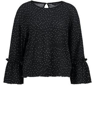 Актуальная шифоновая блуза в мелкий горох с расклешенным рукавом  высокий рост№34