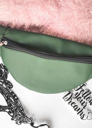 Новая модная женская бананка сумка на пояс зеленая