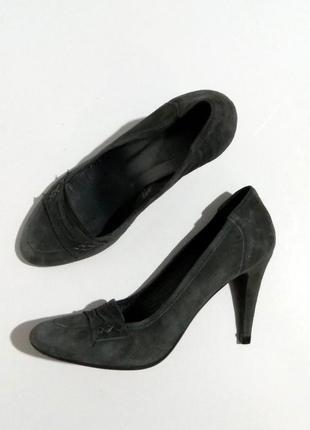 Дымчатые натуральные ,  итальянские туфли, замшевые лоферы