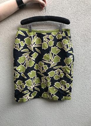Льняная юбка-карандаш,карманы по боку,цветочный принт, оригинал  laura ashley