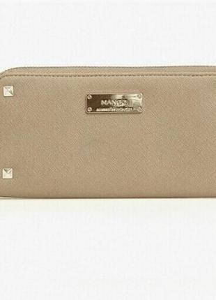 Вместительный бежевый женский кошелек из эко кожи