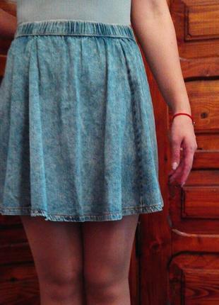 Юбка, солнце клеш, мини, джинсовая, варенка