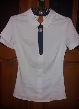 """Школьная подростковая блуза """"стюардесса"""" с галстуком и коротким рукавом"""