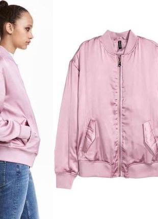 Бомбер, атласная курточка h&m, р. 34,38 .