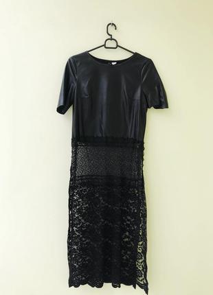 Туника платье топ с кружевом длинный длинное