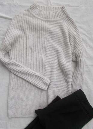Серый свитер atmosphere в рубчик в косы с воротником стойкой