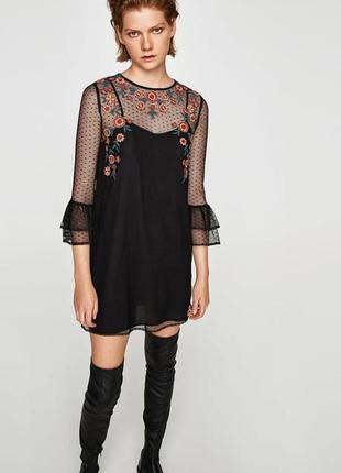 Новое платье с  вышивкой zara. s. m.