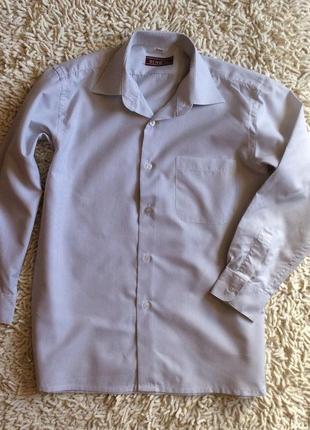 Рубашка белая в тонкую полоску ben du для школы на 10-11 лет