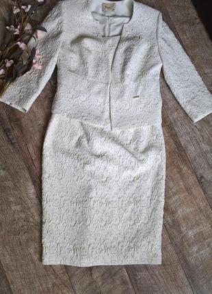 Нарядный костюм,платье+жакет/польша/цвет айвори с золотистым/светлый