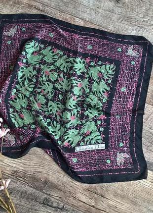 Брендовый оригинальный платок от christian dior/100% шелк/лёгкий