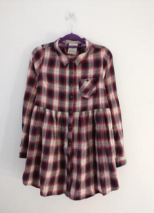 Платье-рубашка в клетку, сарафан свободного кроя на пуговках 🌷