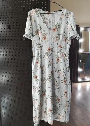 Льняное платье миди от zara3