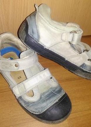 Летние кожаные туфли 33 р. 20 см d.d.step на мальчика, босоножки, закрытые, туфлі, хлопчик