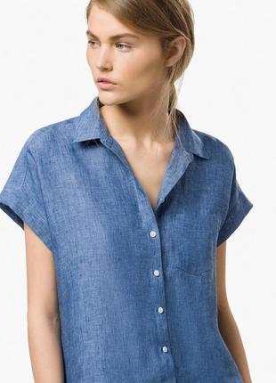Рубашка с карманом изо льна massimo dutti