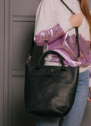 634250507ab1 Сумка кожаная большая женская стильная в черном цвете шоппер через плечо