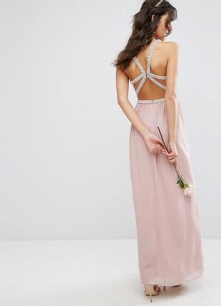 Скидки! нежное вечернее платье с камнями и открытой спиной, свадебное платье в пол