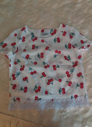 Літня блузка у вишнях🍒🍒