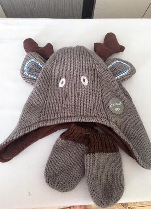 "Комплект  шапки с рукавичками ""оленёнок """