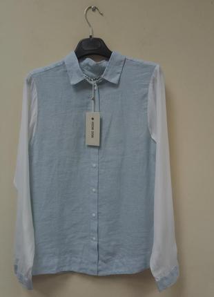 Комбинированная рубашка с шелковыми рукавами mos mosh