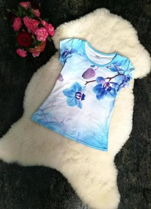 Принтова футболка. орхидея.