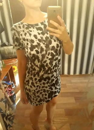Платье в звериный принт h&m