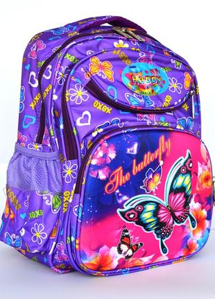 Школьный рюкзак с ортопедической спинкой и с 3д рисунком сиреневый
