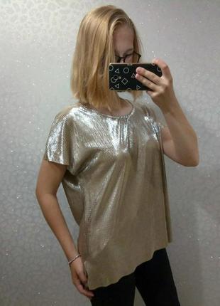 Блуза металлик плиссе/гофре для пышных форм