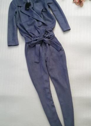 Комбинезон замшевый красивого серо-голубого цвета