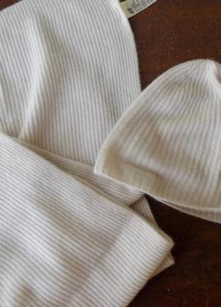 H&m (189€)  коплект шерсть кашемир новый  шапка и шаль кремовый