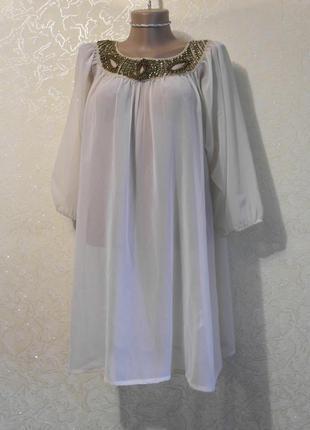 Красивое легкое летнее шифоновое платье пляжная туника с колье