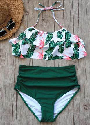 Купальник с воланом (рюшем), очень высокая талия, зеленый плавки, растительный узор2 фото