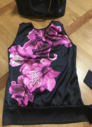 Шикарная шёлковая блуза блузка майка в цветы шёлк