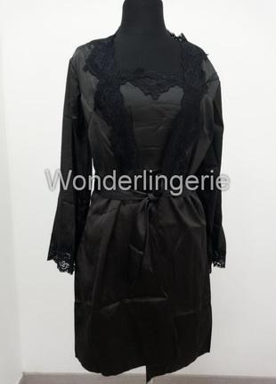 Jacqueline черный комплект набор халат с пеньюаром и стринги4 фото