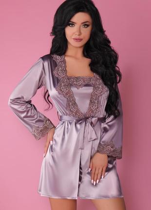 Jacqueline комплект набор халат с пеньюаром и стринги атлас с кружевом красивая упаковка