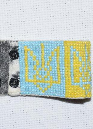 Широкий браслет из бисера герб украины