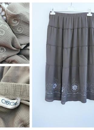 Юбка миди с вышивкой легкая воздушная юбка миди цвета хаки cherokee