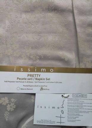 Салфетки 6 штук issimo home pretty (grey)серая, серебро natural