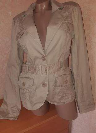 Пиджак/жакет песочного цвета из хлопка с карманами