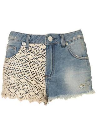 Джинсовые шортики с ажуром вышивкой в узор topshop вязаные шорты с потертостями