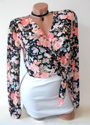 Красивейшая легкая блуза топ на узел короткая на запах