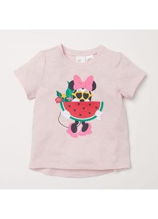 "Новая розовая футболка ""минни маус"", h&m, 6525/1"