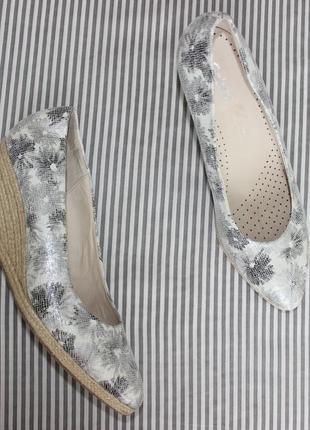 41 /27см gabor кожа/плетеная танкетка туфли на танкетке в цветок