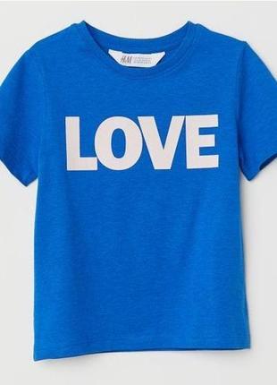 Новая футболка синяя love для девочки, h&m, 0621767