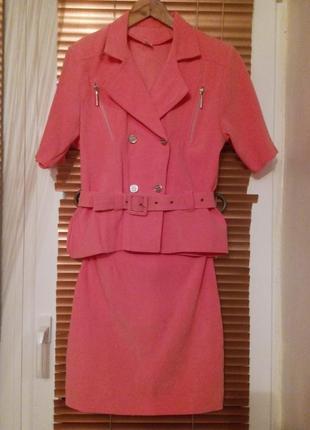 Розовый костюм летний женский