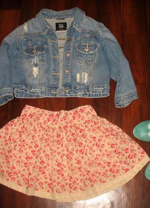 Легкая летняя хлопковая мини юбка с кружевом
