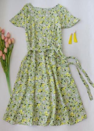 Платье миди нежно-зеленое в желтый цветочек от peacocks размер l (12)